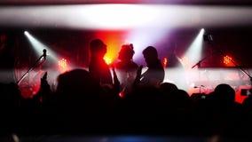 俄罗斯,新西伯利亚, 2016年7月14日 集会在摇滚乐音乐会的人群 图库摄影