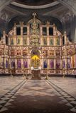 俄罗斯,梁赞2019年2月1日-东正教的内部,法坛,圣障,在自然光 库存照片