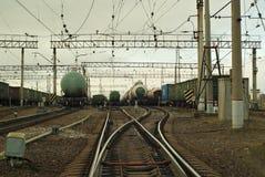 俄罗斯,电烫- 2017年10月23日:在调车场的风景 免版税库存图片