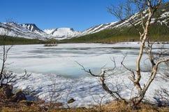俄罗斯,科拉半岛, Khibiny 湖小Vudyavr在用在晴朗的天气的冰包括的夏天 免版税库存图片