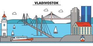 俄罗斯,符拉迪沃斯托克 城市地平线,建筑学,大厦,街道,剪影,风景,全景,地标 免版税库存照片