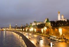 俄罗斯,莫斯科,克里姆林宫在晚上 免版税库存照片