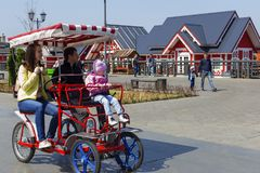 俄罗斯,莫斯科,在乘坐轮椅的公园可以3日2018年,家庭,社论 图库摄影