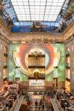 俄罗斯,莫斯科,在商店中央儿童` s世界的激光展示 库存照片