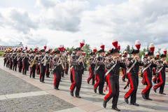 俄罗斯,莫斯科,节日Spasskaya塔 Carabinieri带, Ita 免版税库存图片