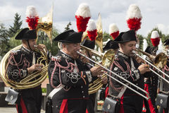 俄罗斯,莫斯科,节日Spasskaya塔 Carabinieri带, Ita 免版税图库摄影
