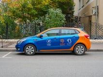 俄罗斯,莫斯科, 2017年10月 汽车共用模式 每分钟出租汽车 汽车事务 免版税图库摄影