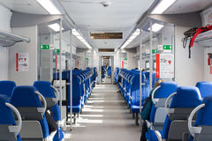 俄罗斯,莫斯科, 2017年2月26日:Lastochka火车a内部  免版税库存照片