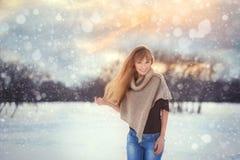 俄罗斯,莫斯科, Kolomenskoye公园,一个美丽的女孩的冬天照相讲席会在冬天背景中环境美化 免版税库存图片