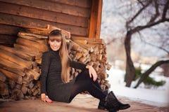 俄罗斯,莫斯科, Kolomenskoye公园,一个美丽的女孩的冬天照相讲席会在冬天背景中环境美化 库存图片