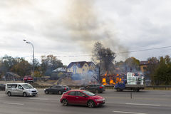俄罗斯,莫斯科, Mytishchi, 2014年10月1日-雅罗斯拉夫尔市highw 免版税库存照片