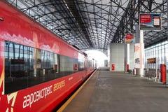 俄罗斯,莫斯科:从Belorussky火车站的Aeroexpress到S 库存图片