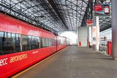 俄罗斯,莫斯科:从Belorussky火车站的Aeroexpress到S 免版税库存图片
