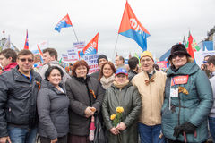 05/01/2015俄罗斯,莫斯科 在红场的示范 辛苦da 库存照片