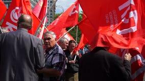 俄罗斯,莫斯科- 2016年5月9日:共产主义和左力量会议在Semyonovskaya广场的在莫斯科 影视素材
