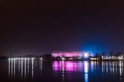 俄罗斯,顿河畔罗斯托夫, 2018年2月04日:橄榄球场罗斯托夫竞技场 2018年世界杯足球赛的体育场 Nightview illumi 库存照片