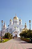 俄罗斯, Diveevo,变貌大教堂在三位一体六翼天使Diveevo修道院, churchs里 免版税库存照片