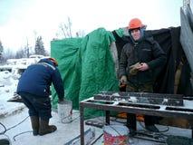俄罗斯, NADYM - 2012年11月23日:Ð ¡ orporation俄罗斯天然气工业股份公司在诺维 免版税库存照片