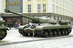 俄罗斯, VERKHNYAYA PYSHMA - 2月12日 2018年:苏联重的坦克IS-3在军用设备博物馆  免版税图库摄影