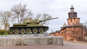 俄罗斯-下诺夫哥罗德 5月4日:T-34坦克 mi的陈列 免版税库存图片