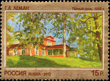俄罗斯-大约2012年:在俄罗斯打印的邮票致力了当代艺术俄罗斯, G A Leman 温暖的天1996年 库存照片