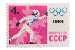 俄罗斯-大约1964年:打印的邮票,展示体育 图库摄影