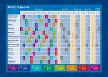 俄罗斯2018年世界杯日历 完成与每场足球比赛日期和城市和体育场的名字的年代题铭 向量例证