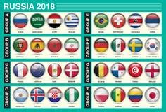 俄罗斯2018年国际足球联合会世界杯小组国旗圈子象 免版税图库摄影