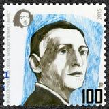 俄罗斯- 2015年:显示伊凡・阿列克谢耶维奇・蒲宁1870-1953,作家,系列文学的诺贝尔奖得奖人 免版税库存照片