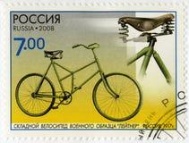 俄罗斯- 2008年:Leytner, 1917年,系列纪念碑科学和技术, B军事样品的展示可折叠自行车  免版税库存图片