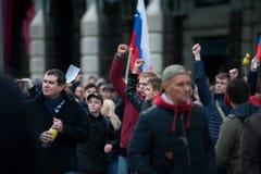 2017 - 俄罗斯10月7日,莫斯科:抗议者 免版税库存图片