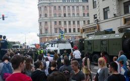 俄罗斯;莫斯科, 2017年;6月12日;Tverskaya街道 免版税库存照片