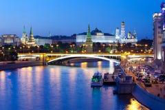 俄罗斯01 06 2014年,克里姆林宫,莫斯科夜视图  免版税库存照片
