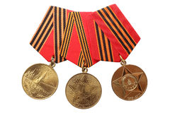 俄罗斯- 1995年2005年2010年:周年纪念奖牌50, 60, 65年胜利在巨大爱国战争中1941-1945 库存图片