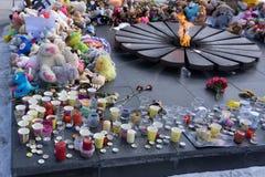 俄罗斯Berezniki 2018年4月2日-这个地方委托比赛以记念受害者秘密审议在火的 图库摄影