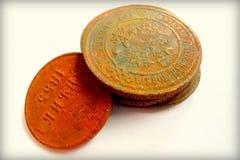 俄语古老的硬币 免版税库存图片