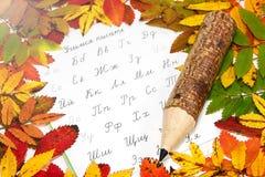 俄语字母、铅笔和秋季叶子 图库摄影