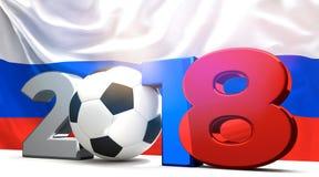 2018俄语色的标志 足球橄榄球球2018 3d回报 库存图片