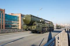 俄语MIRV被装备,热核武器洲际弹道导弹Yars 免版税库存图片