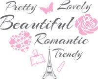 俏丽和可爱 美好的浪漫设计 皇族释放例证