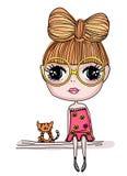 俏丽猫的女孩 免版税库存图片