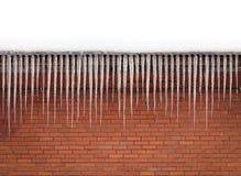 俏丽的冰柱砖墙背景 库存图片
