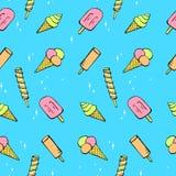 俏丽的冰淇凌的无缝的样式 库存照片