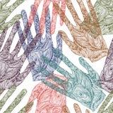 俏丽的剪影zentangle handprint 库存图片