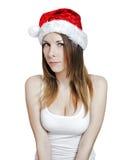 年轻俏丽的圣诞节女孩 库存图片