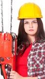 俏丽的女孩伐木工人 免版税库存照片