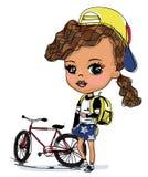俏丽的女孩和自行车 免版税库存照片