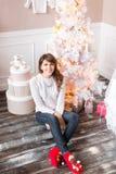俏丽的女孩画象坐一个木地板 圣诞节家庭结构树 库存图片