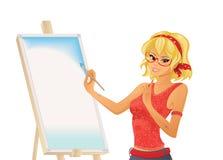 俏丽的女孩绘画 免版税图库摄影