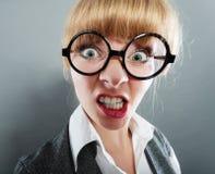 年轻俏丽的女实业家妇女特写 库存照片